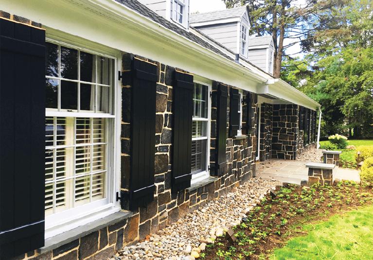 black exterior shutters