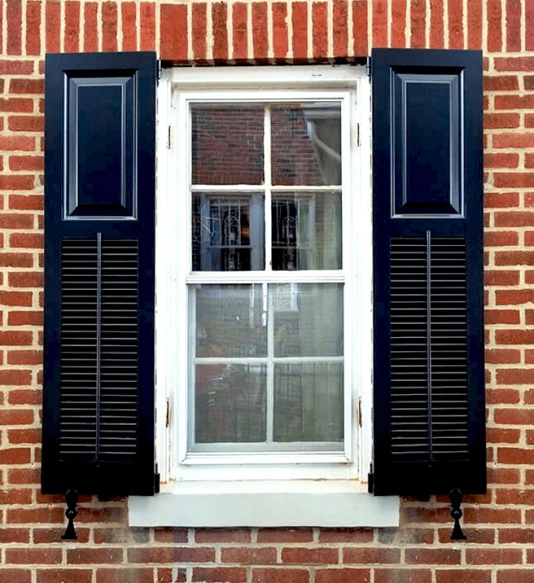 black wood shutters