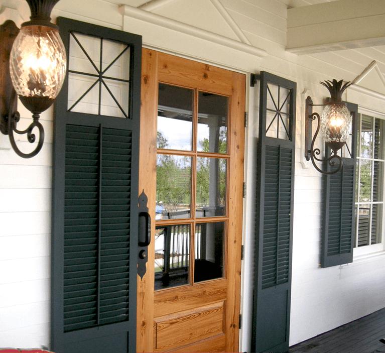 rustic black window shutters