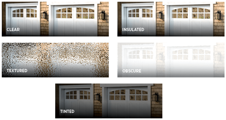 choose from many different types of glass for a garage door