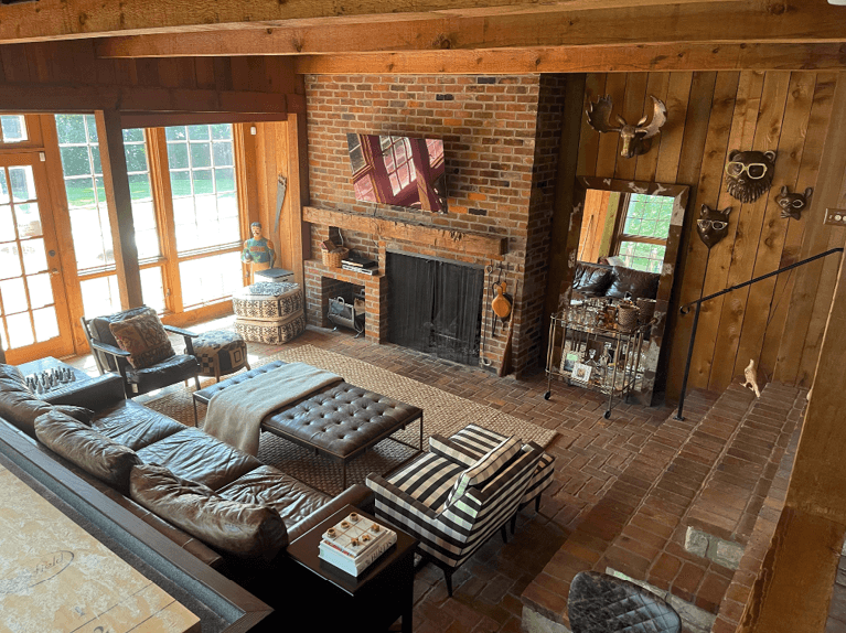 wood and brick family room of riverside home