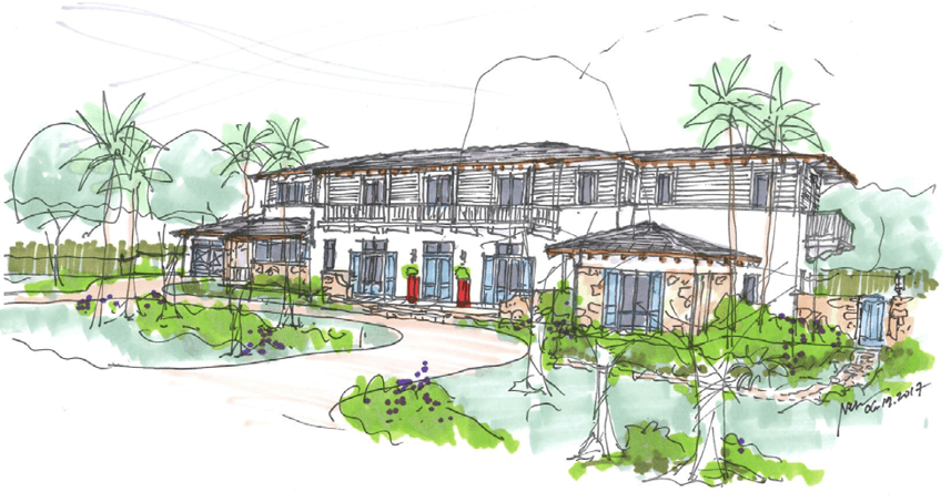 elevation drawing of south florida custom home by nelson deleon