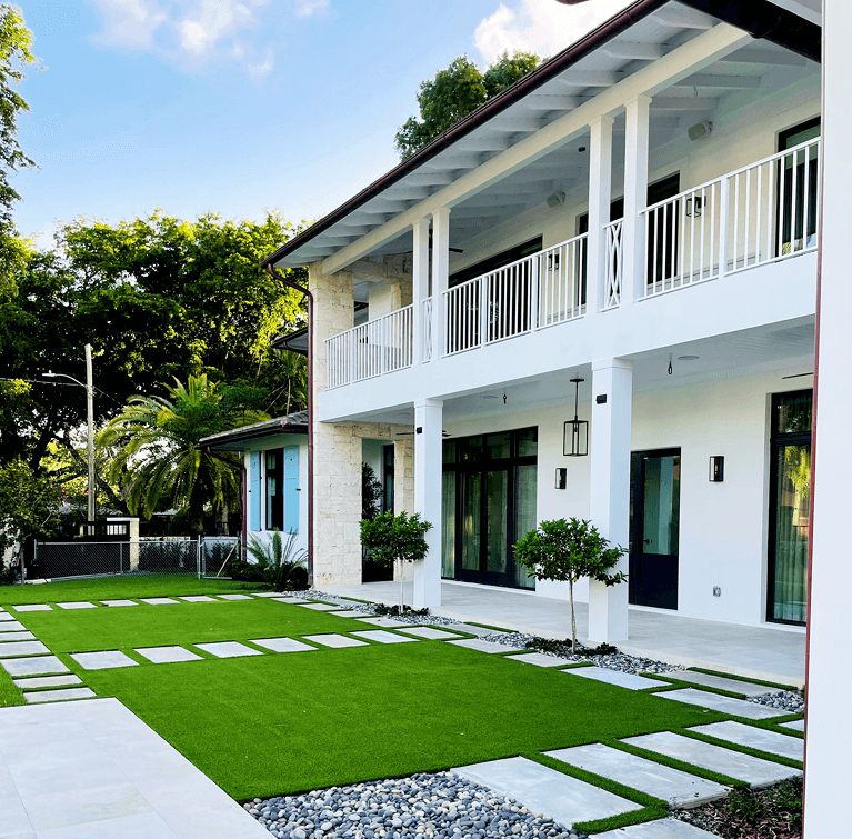 island contemporary style house with custom shutters