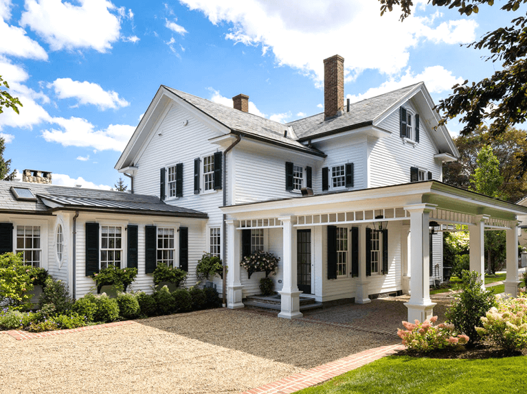 tips for styling white homes with black louver shutters