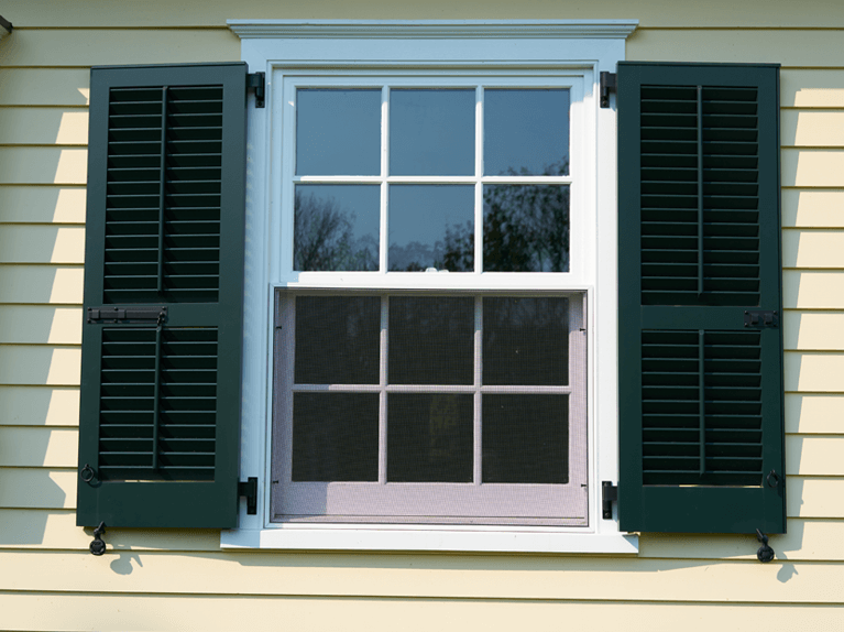 custom louver exterior shutters with functional hardware