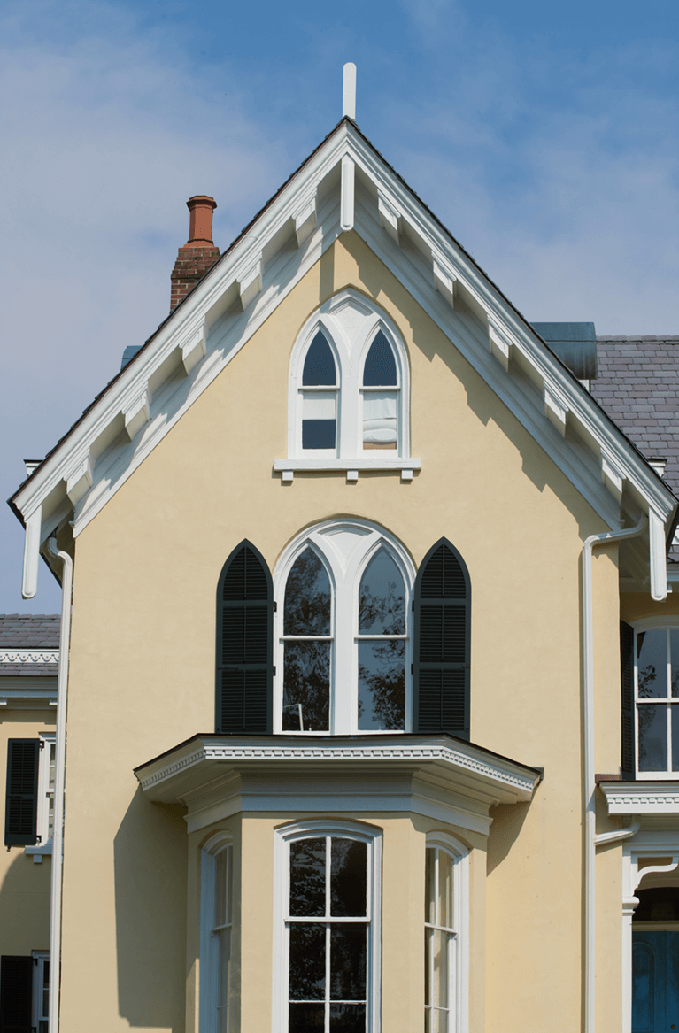 custom exterior shutters for gothic style window