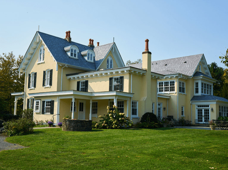 side view of sunny gables gothic revival home
