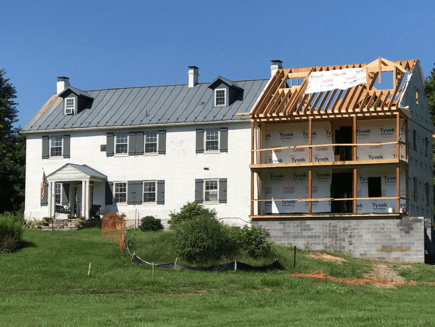 historic farmhouse renovation in progress