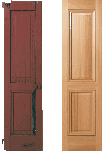 comparison of old panel shutter and recreated, historically accurate wooden timberlane shutter