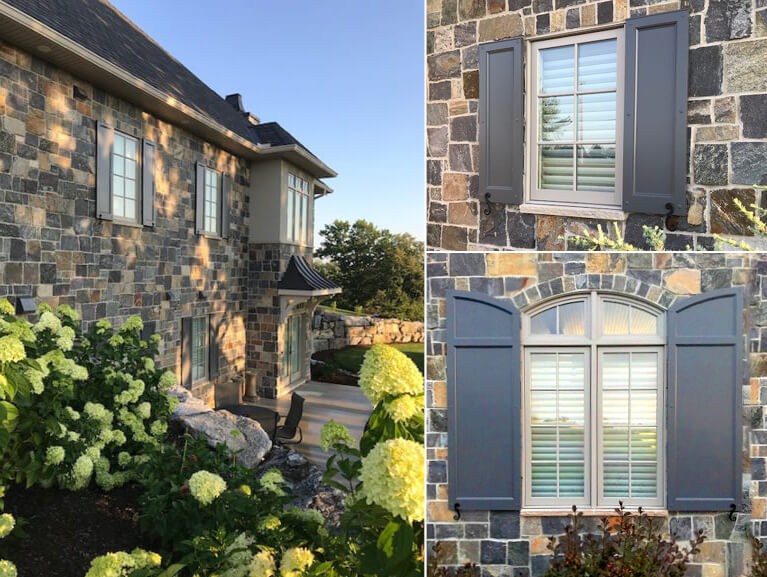 collage of a stone home's custom panel exterior shutters with decorative hardware