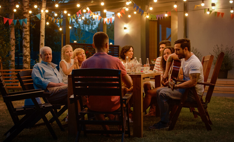 add soft string lights or fixed patio lighting to extend your outdoor gatherings during Fall