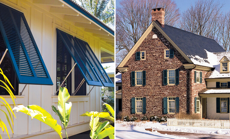 coastal home with functional wood bermuda shutters and a stone home during winter with wood shutters