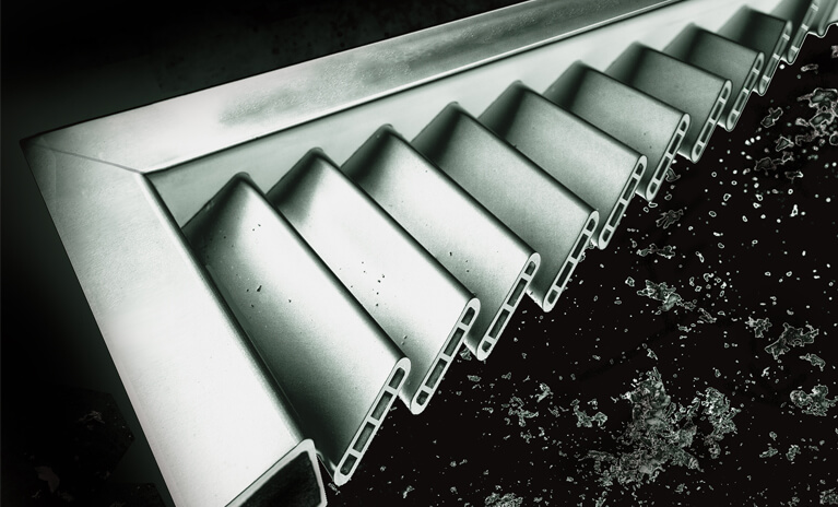 detailed view of raw aluminum hurricane rated bahama shutter style
