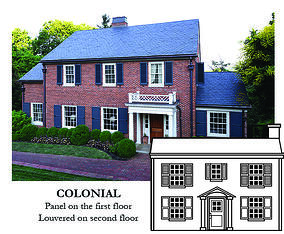 Colonial house style house and illustration