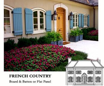 blue board and batten shutters on a French country house style