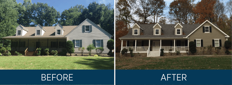 BEFORE AND AFTER IMAGE SHOWING THE DIFFERENCE EXTERIOR SHUTTERS MAKE