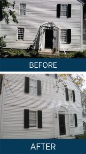 photo showing replacement shutters before and after tree damage
