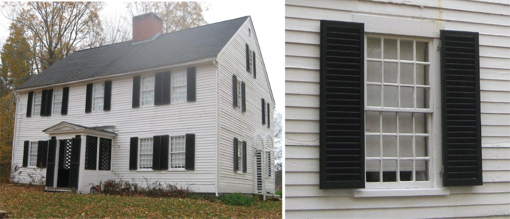 full photo and close up of black louver shutters on white vinyl siding home