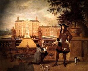 Royal Gardener John Rose and King Charles II - Hendrick Danckerts 1675