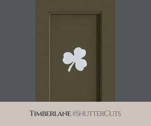 green timberlane shutters with shamrock cutout
