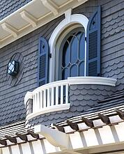exterior beach shutters with combination fixed louvers and panels