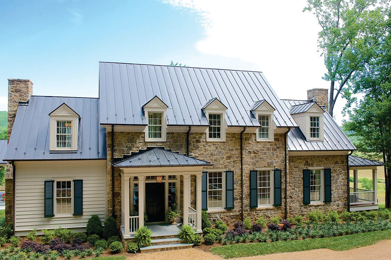 green louver shutters on tan stone 2016 Southern Living House