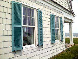 Blue Fixed Louver Beach House Window Shutters