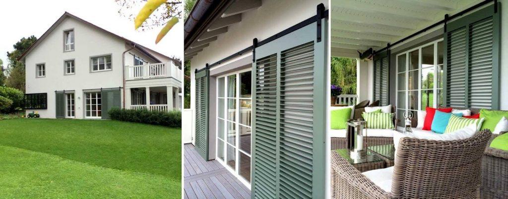 Sage green rolling opening Bermuda shutters