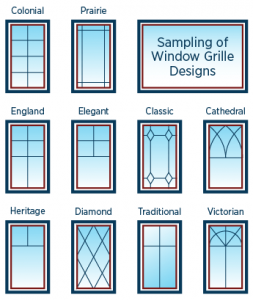 illustration of window grille designs