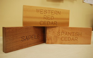 Western red cedar, sapele Mahogany and Spanish Cedar wood blocks