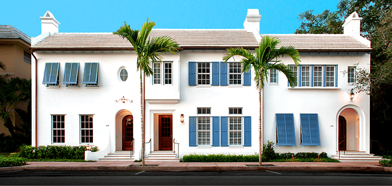 florida townhomes with timberlane shutters by locus architecture