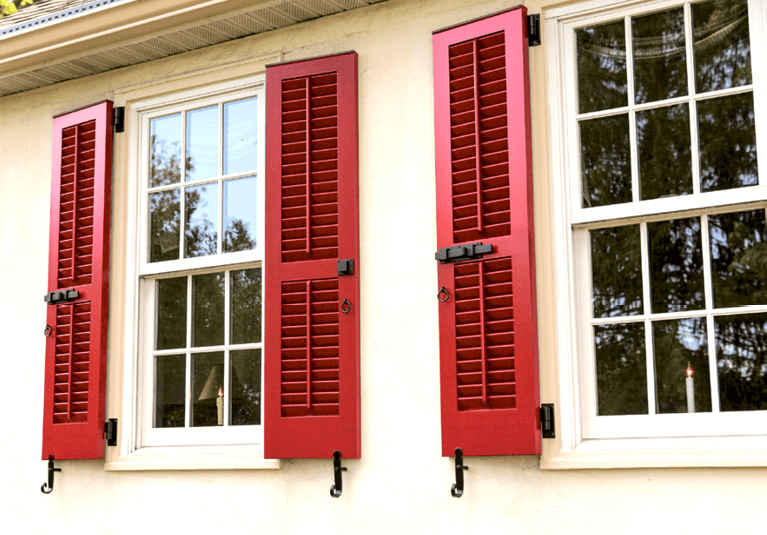 red painted operable louver shutter shutters with functional hardware