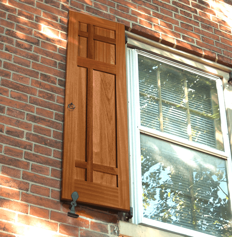 Mission style shutters are the perfect accent for a Craftsman style home