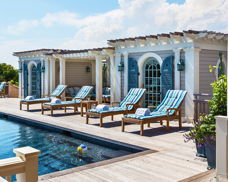 shutters can be used as a backdrop for an outdoor pool oasis or for function to block unwanted sun glare for guests