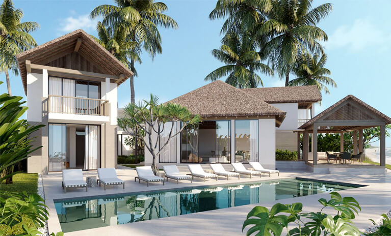 outdoor area of coastal home with private pool and cabana