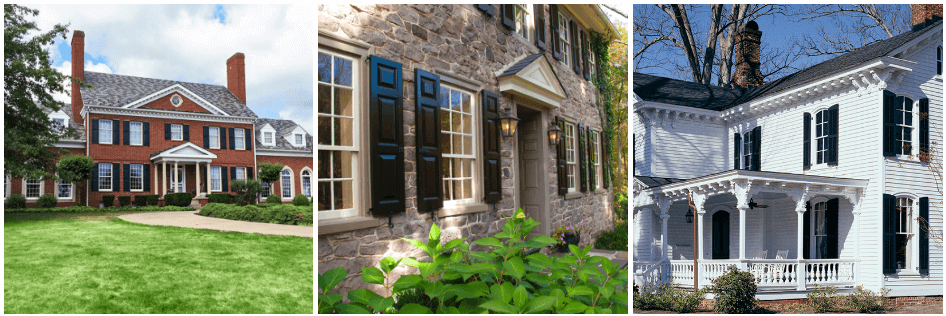 black panel and combination louver shutters on brick, stone and white victorian homes