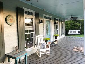 green grey board and batten Porch shutters