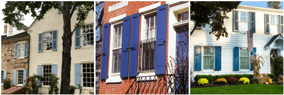 blue panel and louver shutters on tan stucco, brick and white vinyl siding homes