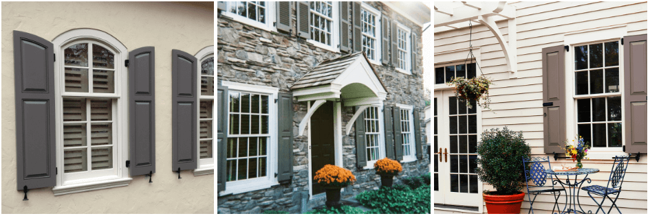 gray panel shutters on stucco, stone and vinyl siding homes