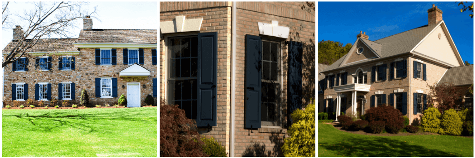 Navy Blue Panel Shutters On Tan Stone And Brick Homes