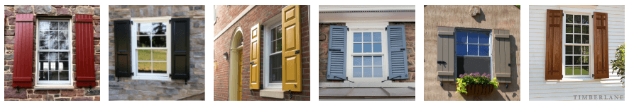 various timberlane shutters styles on various windows