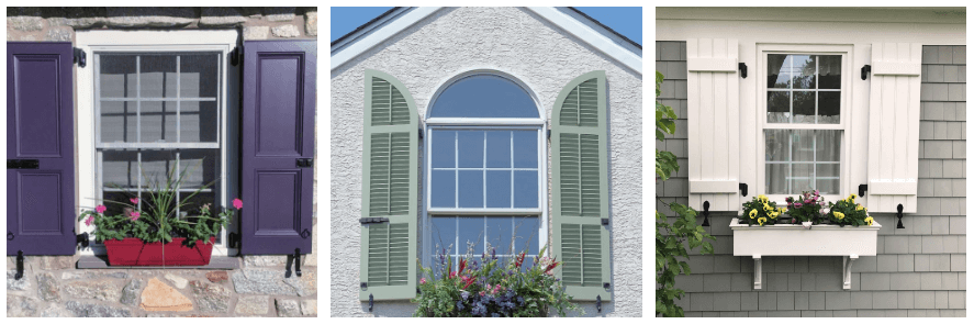 window boxes with purple, green and white shutters